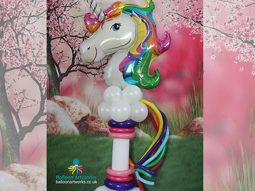 Magical unicorn balloon with rainbow mane and tail