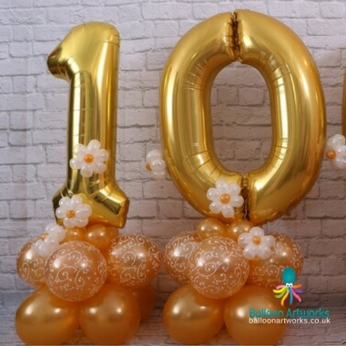 Giant 10th birthday balloon numbers