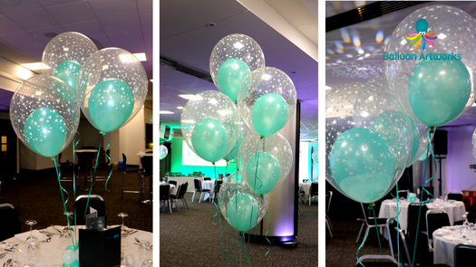 Double Bubble Mint Green Helium Balloon Decorations for a Corporate Awards Ceremony at Pride Park Stadium, Derby County Football Club, Derbyshire by Balloon Artworks Ripley