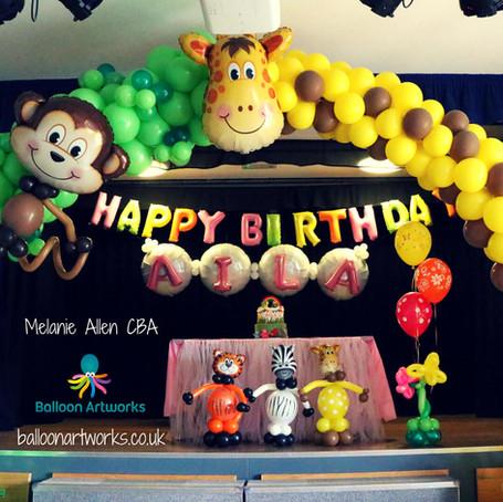 Jungle party balloons Derby Derbyshire Nottingham Nottinghamshire Balloon Artworks.jpg