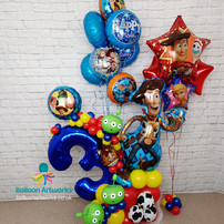 Toy Story Balloon Bouquet - 3rd Birthday Balloon Bouquet  with Helium Balloon Display