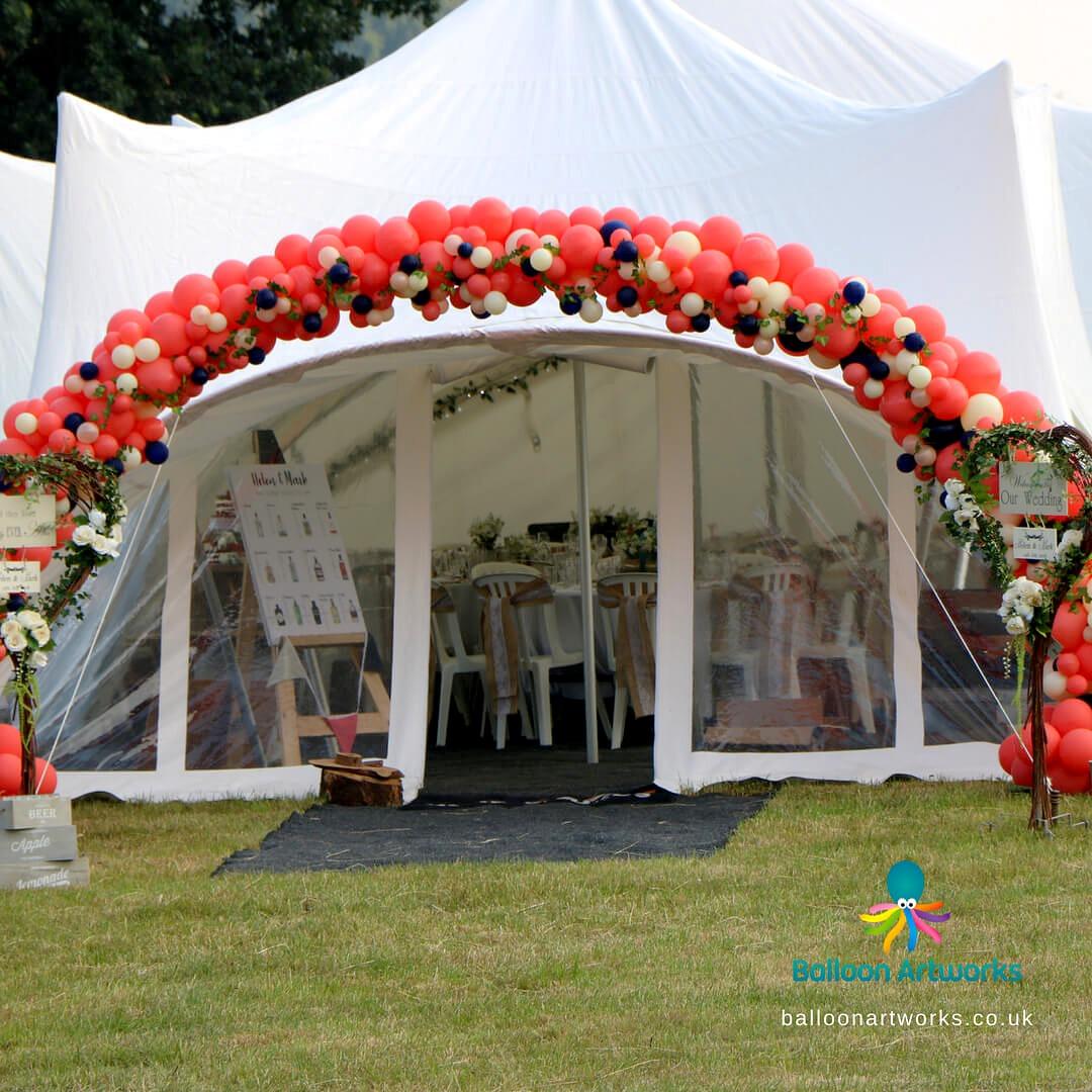 Outdoor wedding balloon arch organic balloon arch Derby Derbyshire Nottingham Nottinghamshire