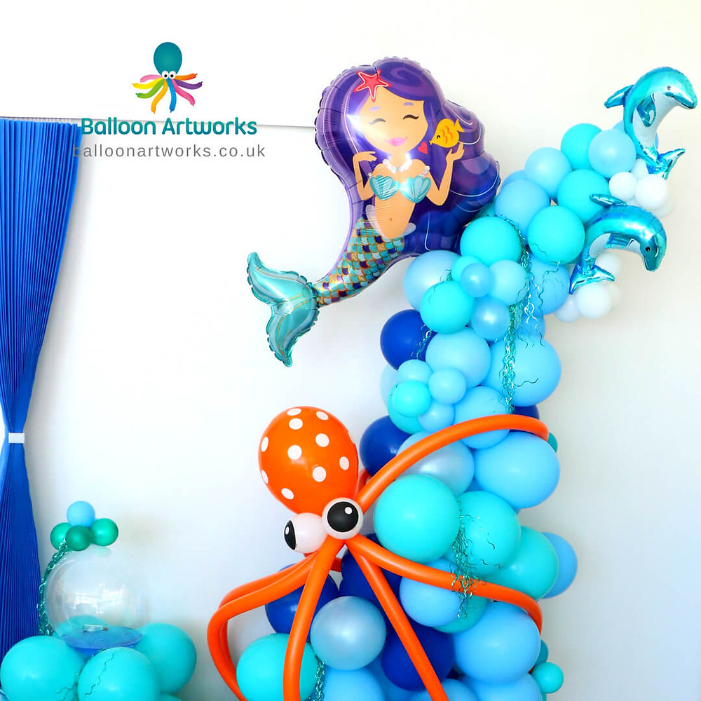 Mermaid theme balloon party decorations balloon seascape Nottingham Nottinghamshire