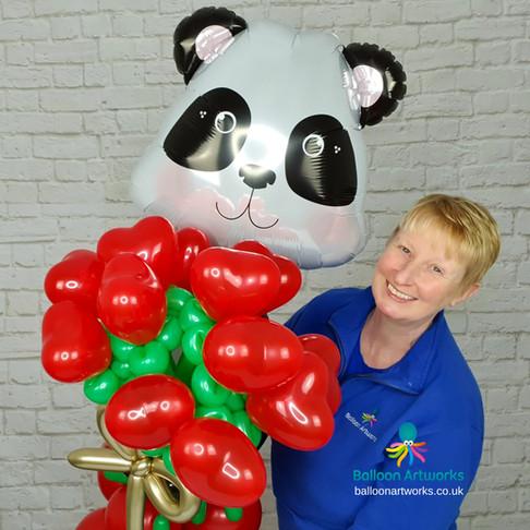Valentine's Balloon Gift - Panda Balloon Flower Bouquet