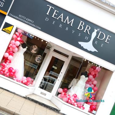 Pretty pink organic balloon display - bridal shop, Alfreton, Derbyshire