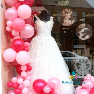 Organic balloon window display - Team Bride