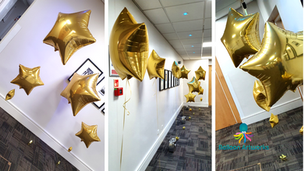Avenue of Gold Balloon Stars at Devereux East Midlands Conference Centre Nottingham by Balloon Artworks