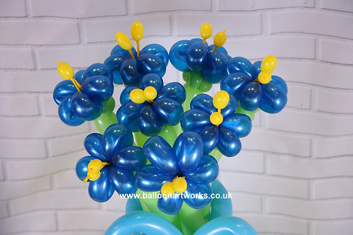 Electric blue balloon flower bouquet