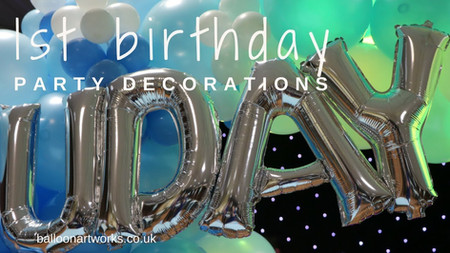 1st Birthday Balloon Arch in pale blue at Spondon, Derby Balloon Artworks