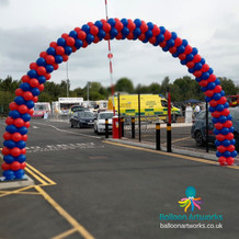 35-foot red and blue balloon arch Derbys
