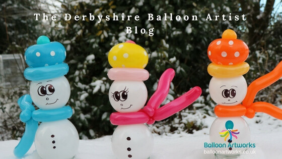Balloon modelling for Christmas parties balloon snowmen The Derbyshire Balloon Artist blog
