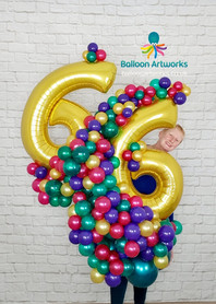 Large Birthday Balloon Number Display 66th Birthday Balloon Artworks Derybshire
