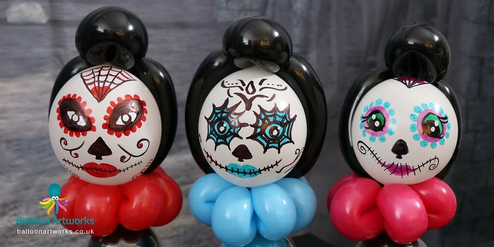 Day of the Dead balloon models for Halloween by Balloon Artworks, the Derbyshire Balloon Artist based in Ripley