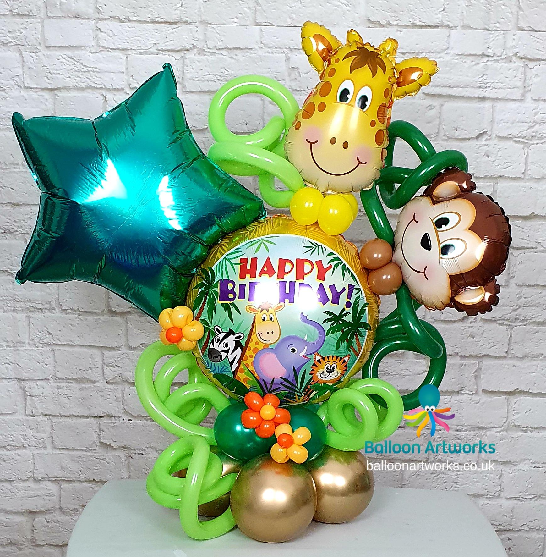 Jungle party balloon centrepiece bespoke