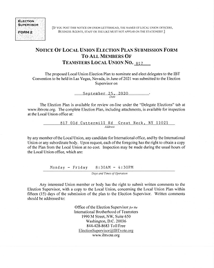 Notice Of Local Union Election Plan Subm