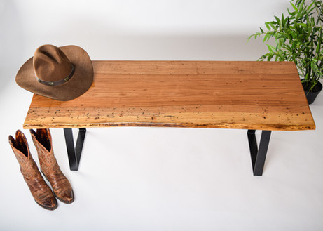 SOLD - Custom spalted pecan bench, ~17-1