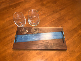 "SOLD - Black Walnut and Custom ""Carolina Blue"" Epoxy River Charcuterie Board"