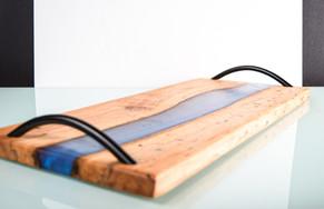 SOLD - Charcuterie board - blue epoxy in pecan