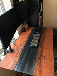 "Pecan and ""Battleship"" Grey Epoxy River Desk Top"