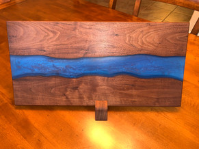 AVAILABLE! Black Walnut and Cloud Blue Epoxy River