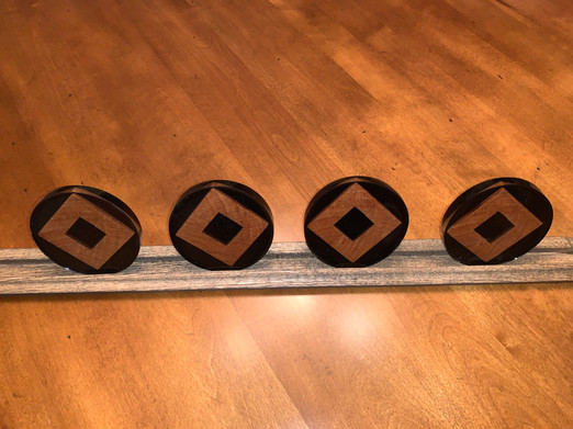 Coaster Set - Red Oak Slices in Black and Grey Epoxy