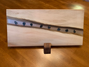 Charcuterie Board: Cottonwood and Suspended Stones in Epoxy