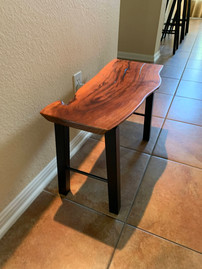 """SOLD - Mesquite Bench with """"Cobalt Blue"""" Epoxy lake and fill"""