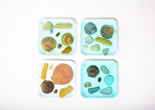 For Sale - Epoxy Shell Coasters - 4 tones of epoxy with shells.
