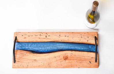 SOLD -Charcuterie board - blue epoxy in pecan
