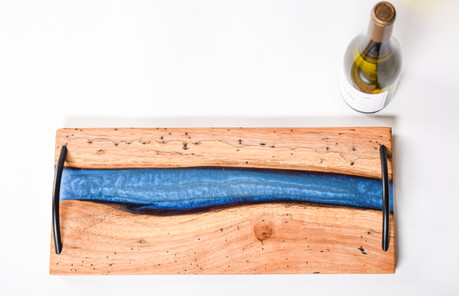 SOLD -Charcuterie board - blue epoxy in pecan