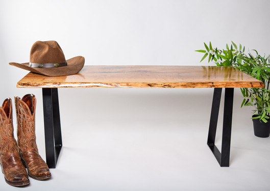 """Pecan Bench ~ 45"""" with Trapezoid legs"""