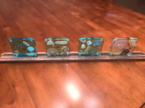Coaster Set - Sea Shells in shades of Ocean Epoxy