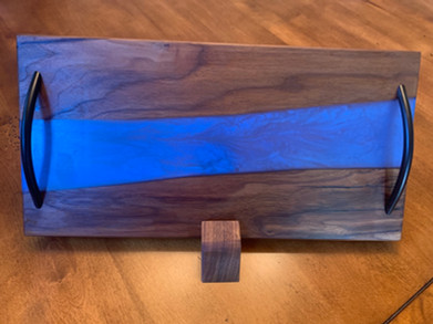 "SOLD: Black Walnut and ""Denim"" Charcuterie Board"