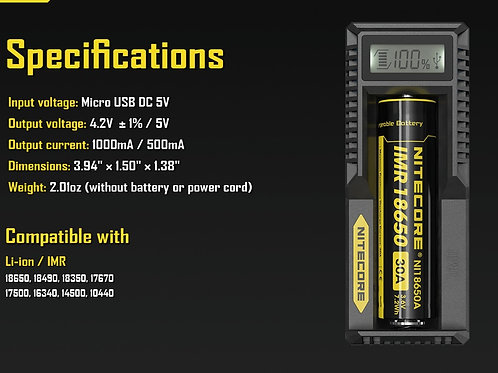 Cargador Nitecore UM10 para batería 18650