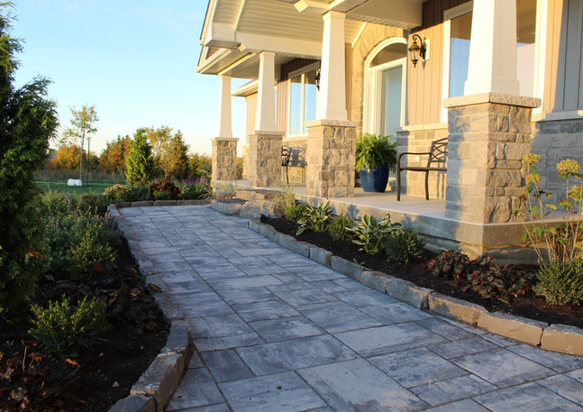 Natural Stone Steps, Permacon Walkway and Natural Stone Curb Garden Edge