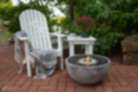 Fire Fountain in back garden with Lawn Chair