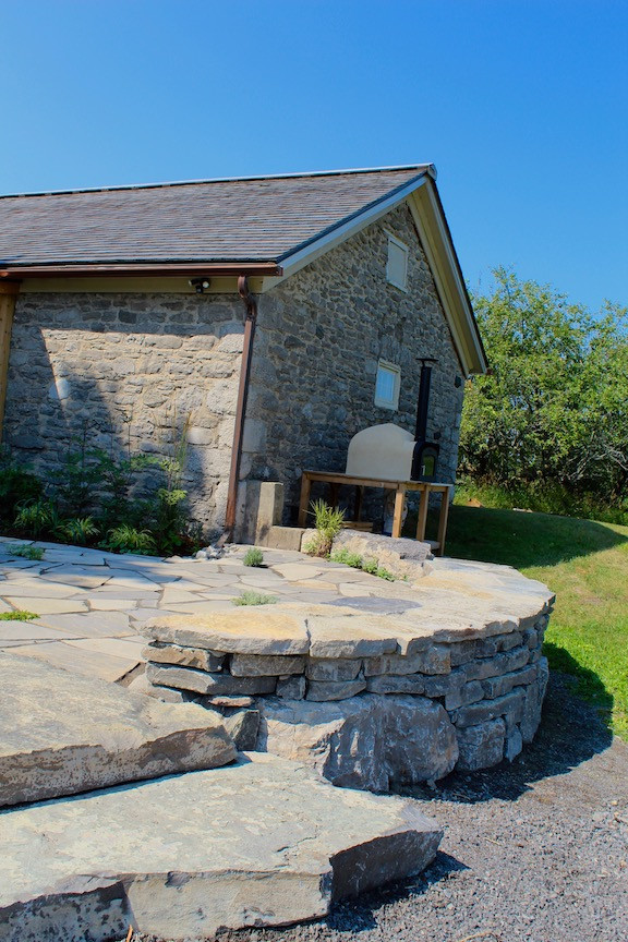 Natural Stone Steps, Drystone Wall and Flagstone Patio