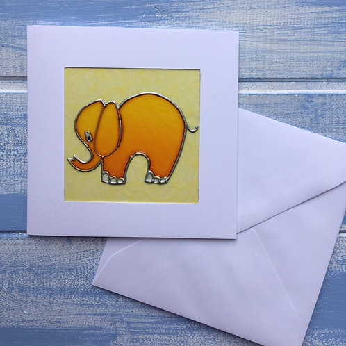 Handmade Card. Yellow Elephant. 16