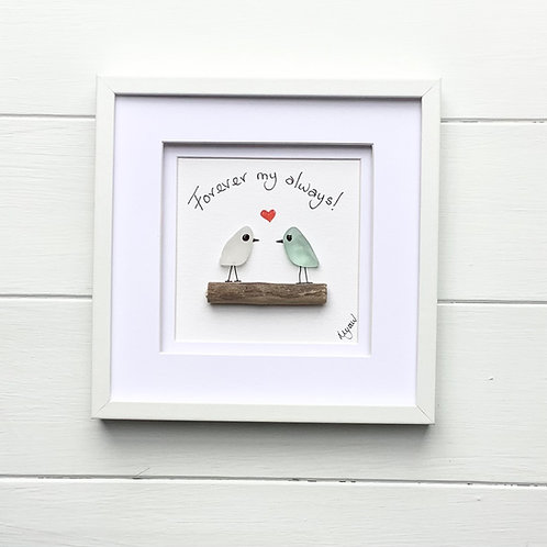 Valentine gift Sea Glass Picture Love Birds. Free UK delivery.