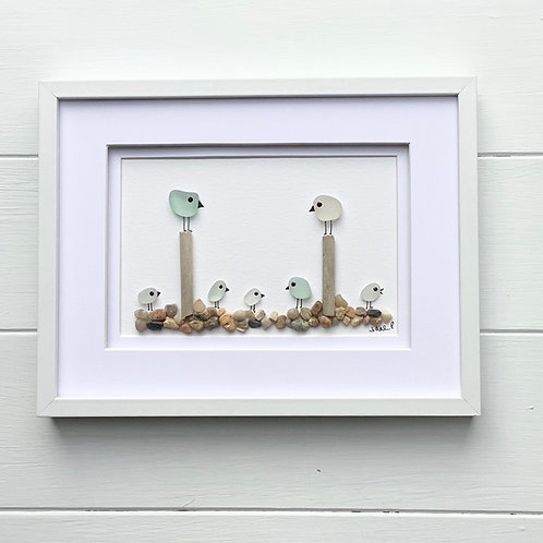 Sea Glass Bird Family Art Framed Picture, Free UK Delivery