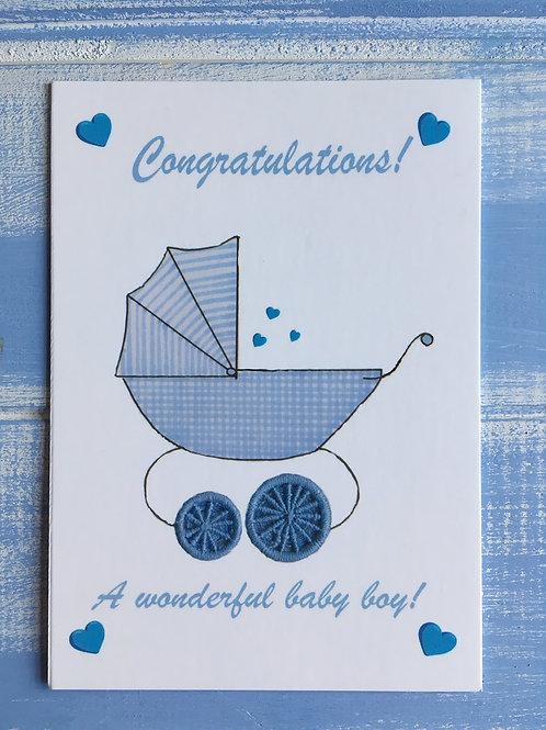 'Baby Boy Congratulations!' Card. 34