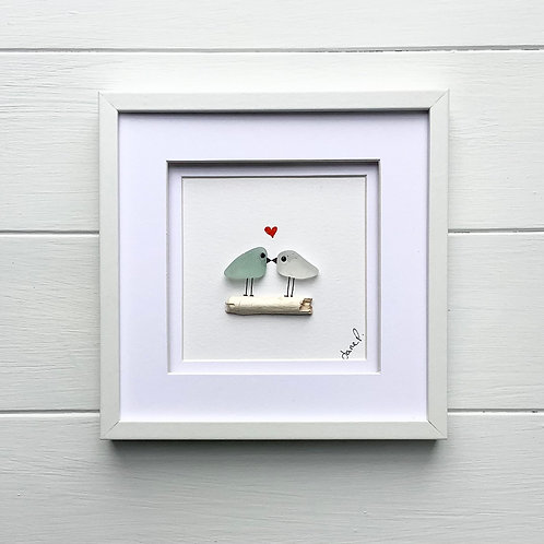 Sea Glass Art Framed Picture, Free UK Delivery