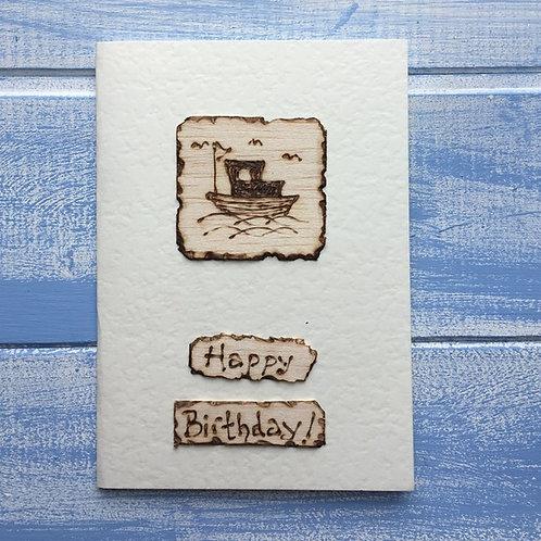 Handmade Card. Boat.'Happy Birthday!' 24