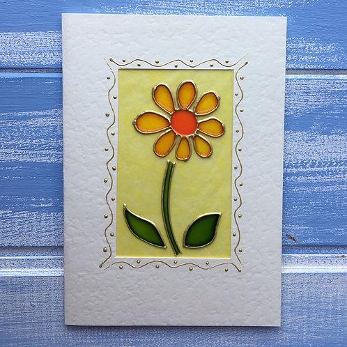 Handmade Card. Tall Yellow Flower. 1.