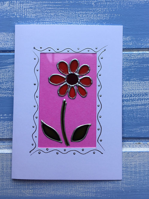 Handmade Card. Tall Pink Flower. 2