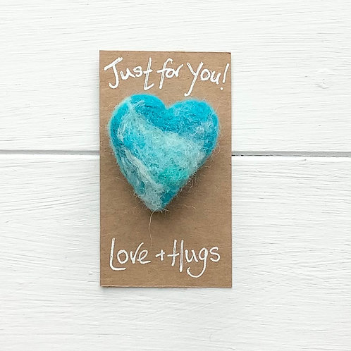 5. Just for You! Woollen Heart  fridge magnet or brooch inc. p+p