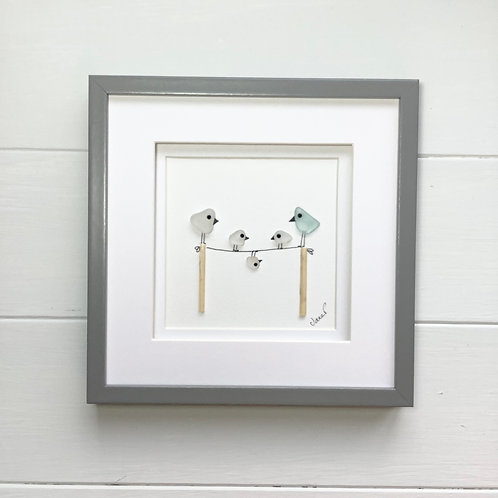 Sea Glass Art Framed Picture, Free Delivery