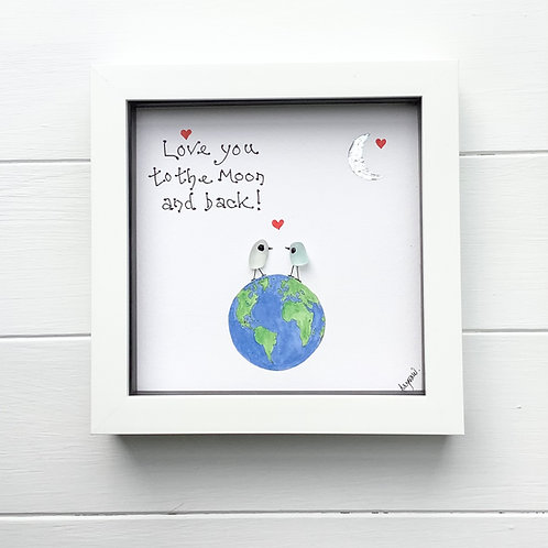 Valentine Gift, Sea Glass Love Birds Art Framed Picture, Free UK Delivery