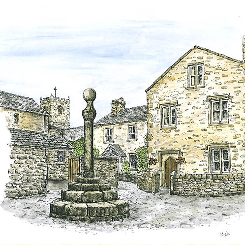 Old Market Cross, Kirkby Lonsdale mounted print