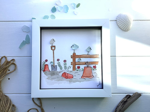 Sea glass art framed picture. Garden bird family. Free UK delivery.